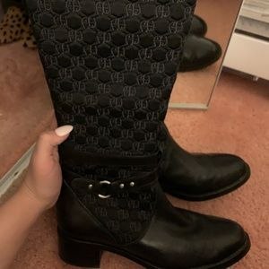 Etienne Aigner Canvas quilted riding boots Sz 8